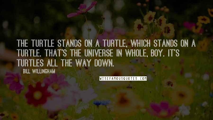 Bill Willingham quotes: The turtle stands on a turtle, which stands on a turtle. That's the universe in whole, boy. It's turtles all the way down.