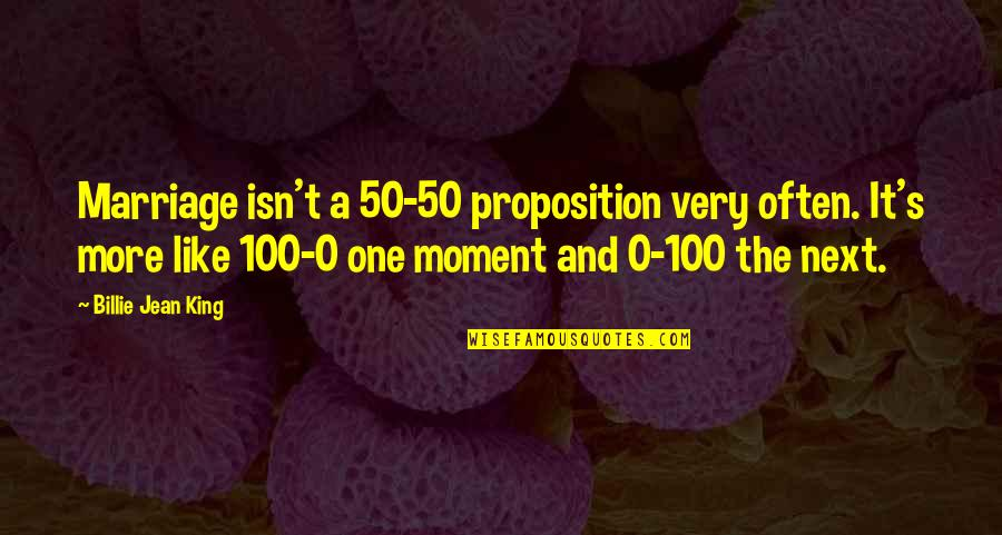 Billie Jean Quotes By Billie Jean King: Marriage isn't a 50-50 proposition very often. It's