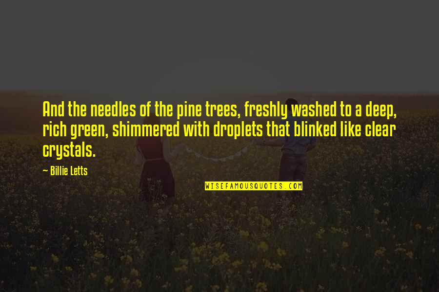 Billie Letts Quotes By Billie Letts: And the needles of the pine trees, freshly