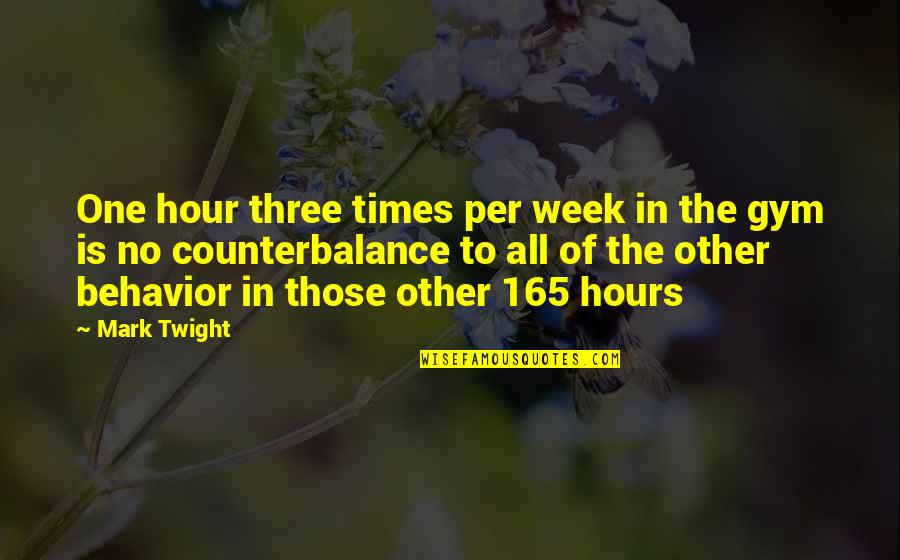 Billy Ansel Quotes By Mark Twight: One hour three times per week in the