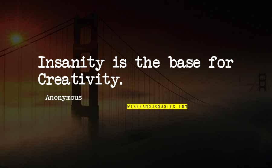 Billy Witch Doctor Quotes By Anonymous: Insanity is the base for Creativity.