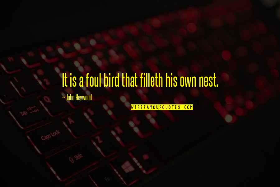 Bird Nests Quotes By John Heywood: It is a foul bird that filleth his