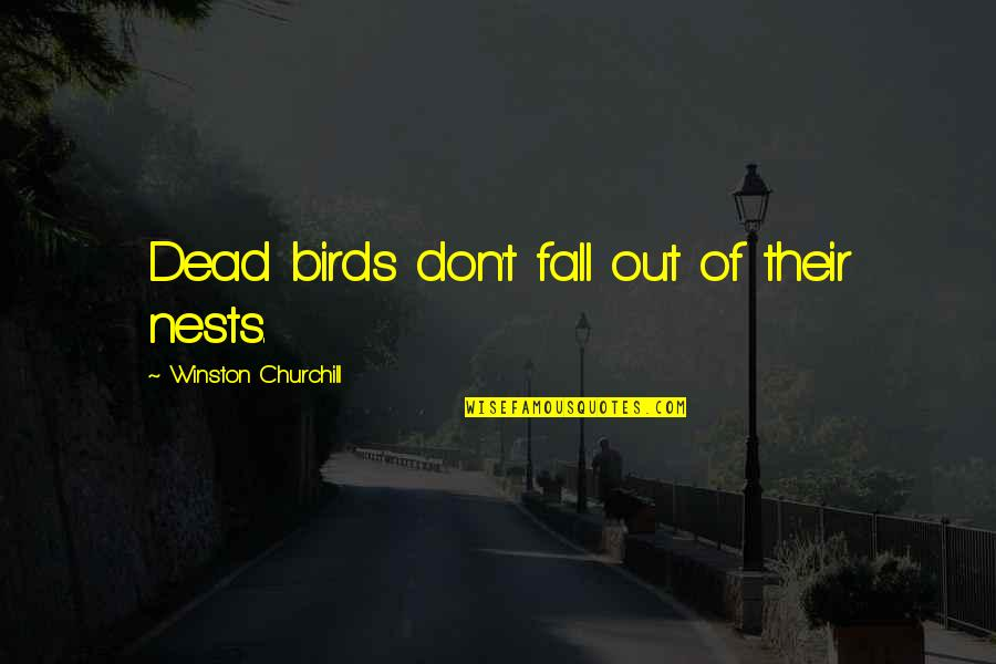 Bird Nests Quotes By Winston Churchill: Dead birds don't fall out of their nests.