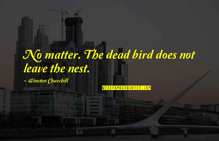 Bird Nests Quotes By Winston Churchill: No matter. The dead bird does not leave