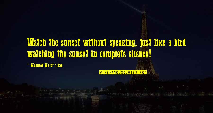 Bird Watching Quotes By Mehmet Murat Ildan: Watch the sunset without speaking, just like a