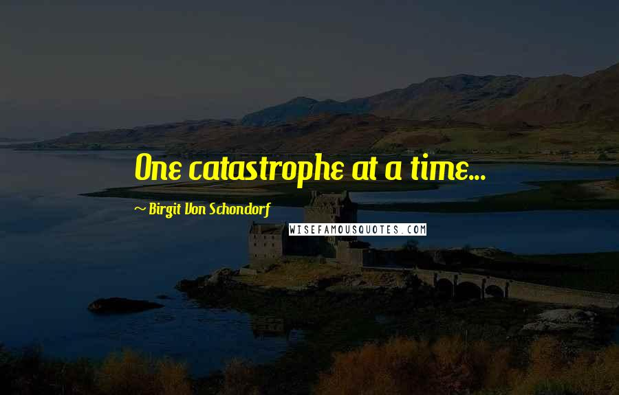 Birgit Von Schondorf quotes: One catastrophe at a time...
