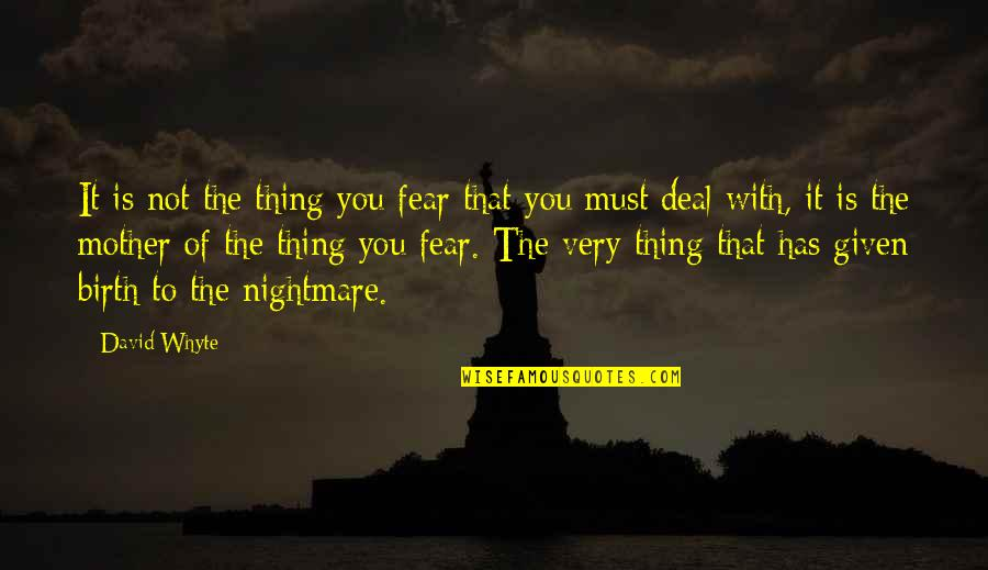 Birth Mother Quotes By David Whyte: It is not the thing you fear that