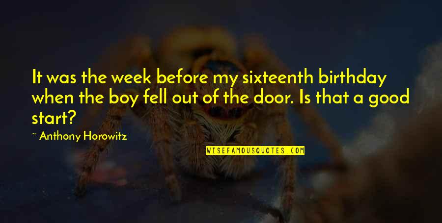 Birthday Before Quotes By Anthony Horowitz: It was the week before my sixteenth birthday