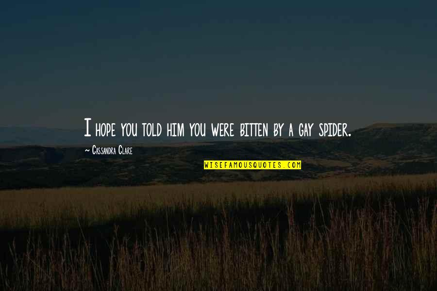 Bitten Quotes By Cassandra Clare: I hope you told him you were bitten