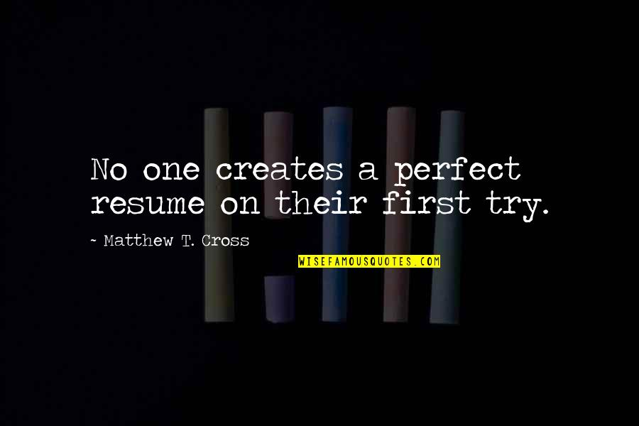 Black Historical Quotes By Matthew T. Cross: No one creates a perfect resume on their