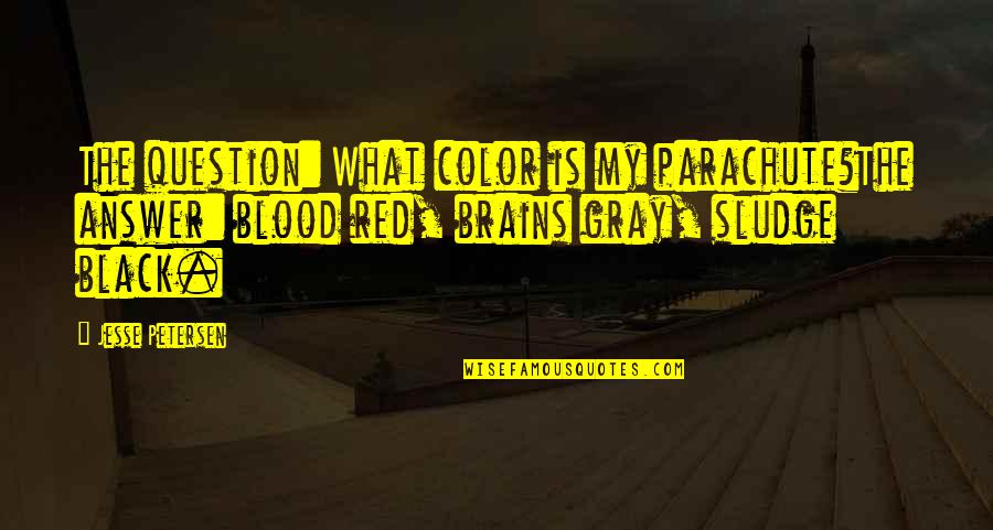 Black Red Quotes By Jesse Petersen: The question: What color is my parachute?The answer: