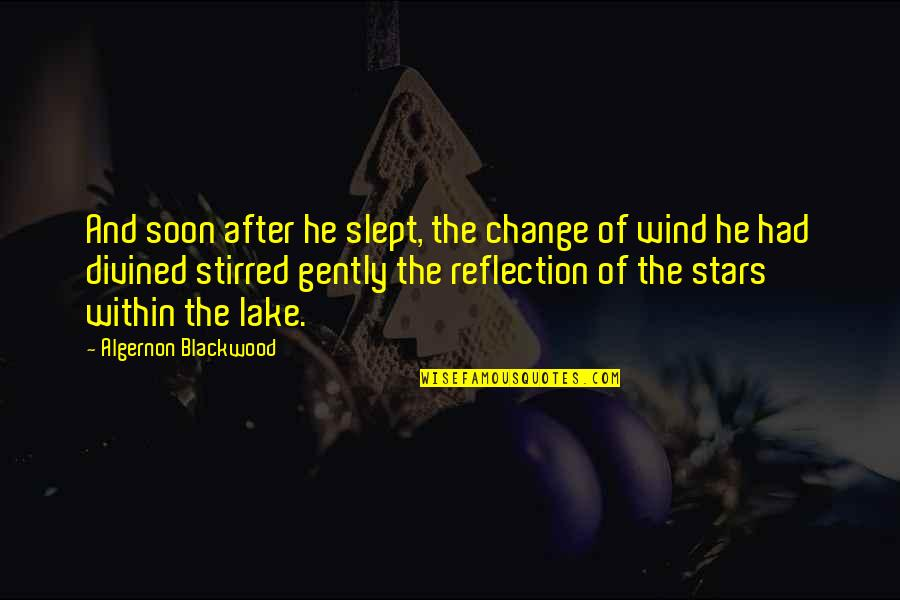 Blackwood Quotes By Algernon Blackwood: And soon after he slept, the change of
