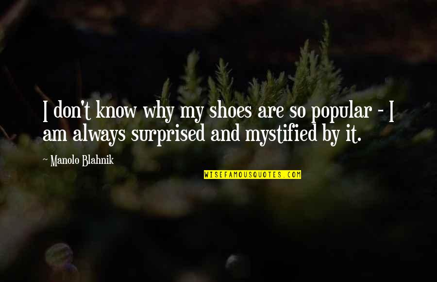 Blahnik Quotes By Manolo Blahnik: I don't know why my shoes are so