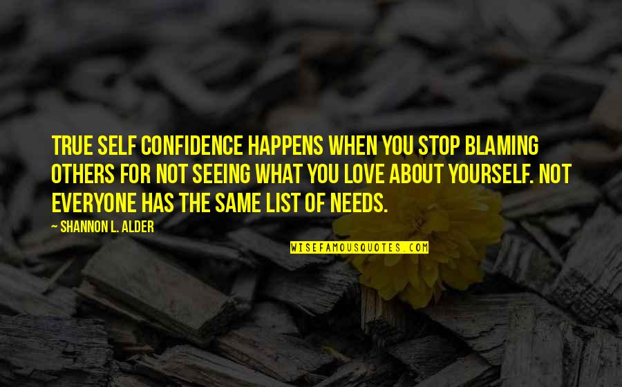 Blaming Others Quotes By Shannon L. Alder: True self confidence happens when you stop blaming