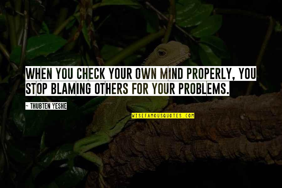 Blaming Others Quotes By Thubten Yeshe: When you check your own mind properly, you