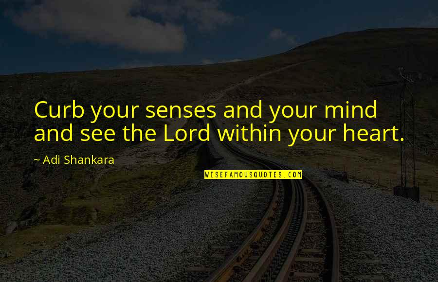 Blashphemy Quotes By Adi Shankara: Curb your senses and your mind and see
