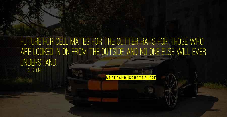 Blashphemy Quotes By C.L.Stone: Future For cell mates For the gutter rats