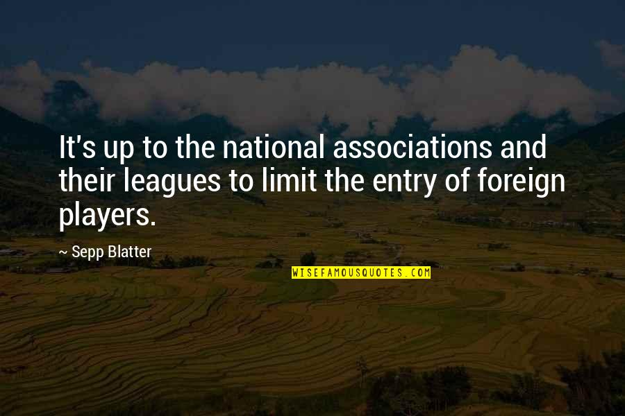 Blatter Quotes By Sepp Blatter: It's up to the national associations and their