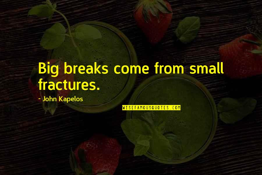 Bleak House Memorable Quotes By John Kapelos: Big breaks come from small fractures.
