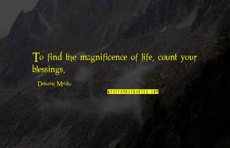 Blessings Of Life Quotes By Debasish Mridha: To find the magnificence of life, count your