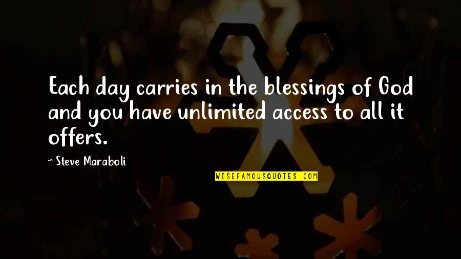 Blessings Of Life Quotes By Steve Maraboli: Each day carries in the blessings of God