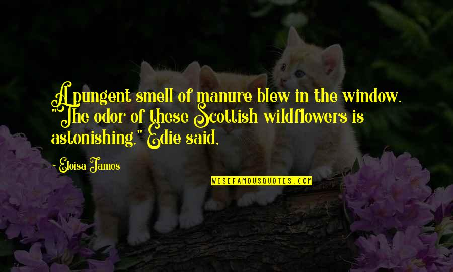 Blew Quotes By Eloisa James: A pungent smell of manure blew in the