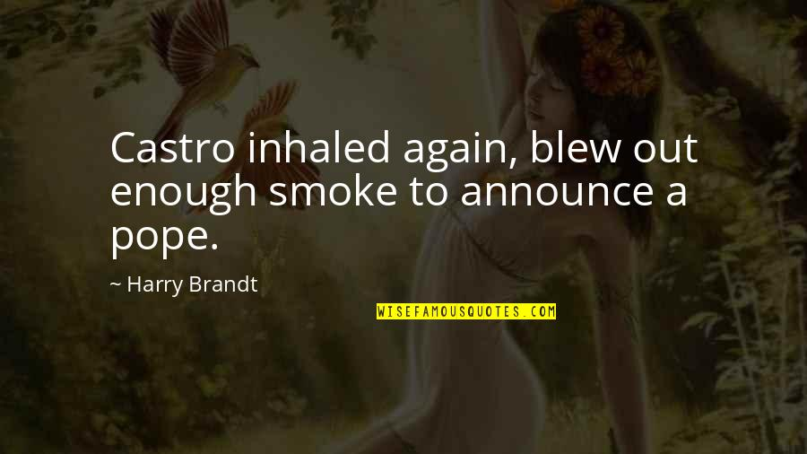 Blew Quotes By Harry Brandt: Castro inhaled again, blew out enough smoke to