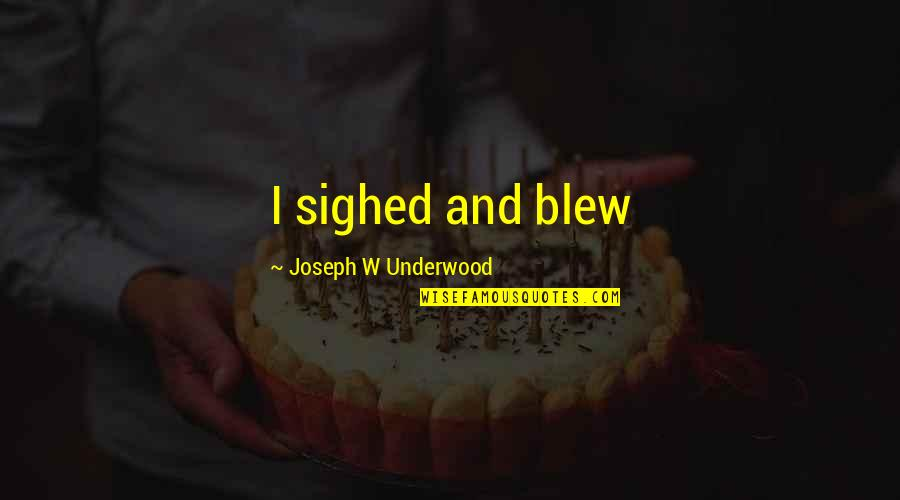Blew Quotes By Joseph W Underwood: I sighed and blew