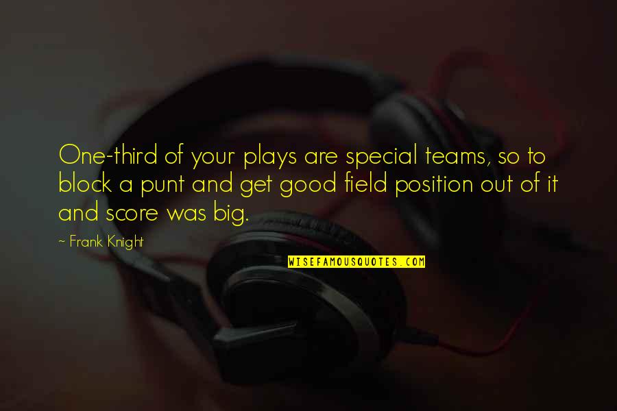 Block Play Quotes By Frank Knight: One-third of your plays are special teams, so