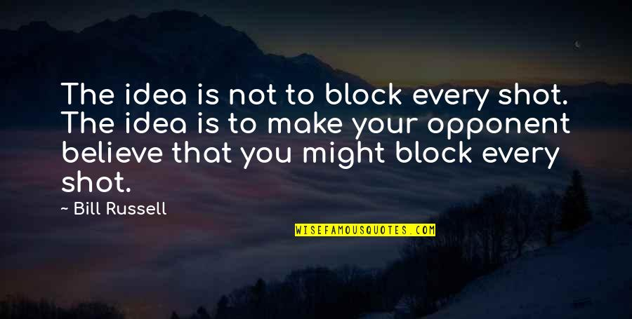 Block Quotes By Bill Russell: The idea is not to block every shot.