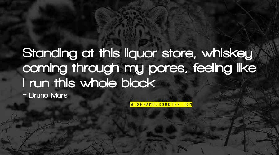 Block Quotes By Bruno Mars: Standing at this liquor store, whiskey coming through