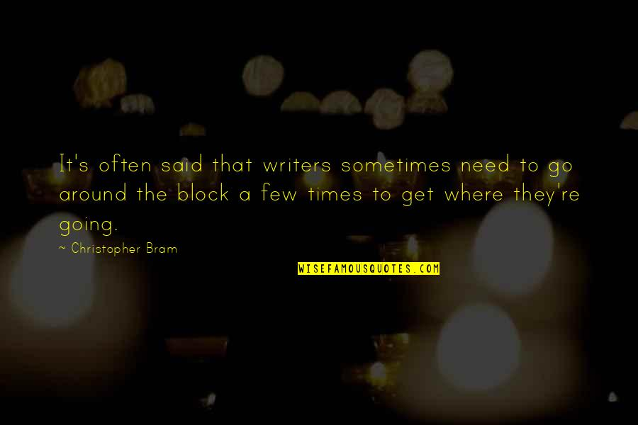 Block Quotes By Christopher Bram: It's often said that writers sometimes need to