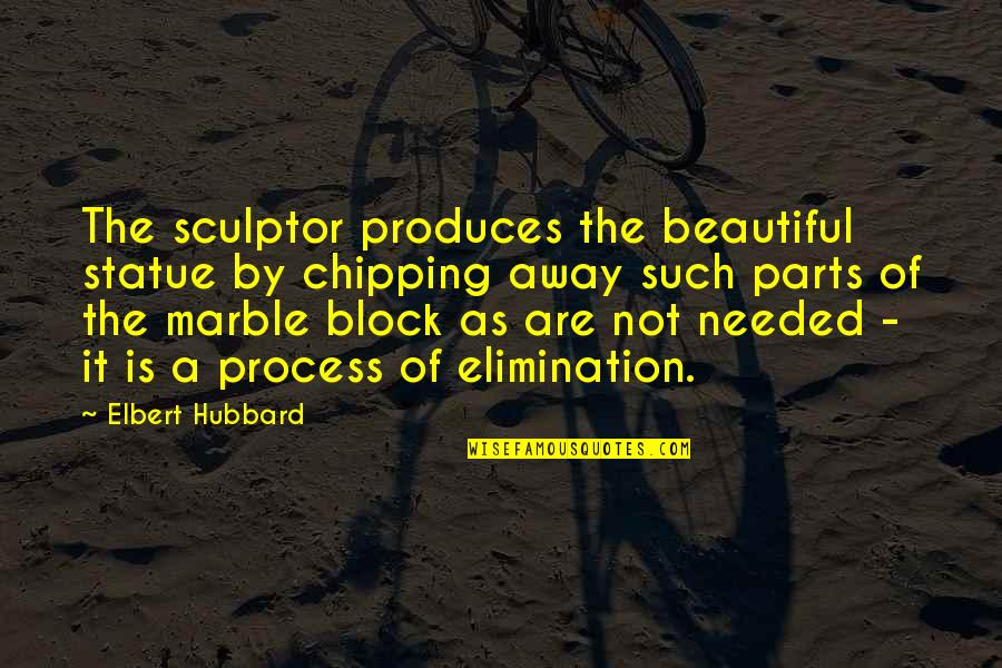 Block Quotes By Elbert Hubbard: The sculptor produces the beautiful statue by chipping