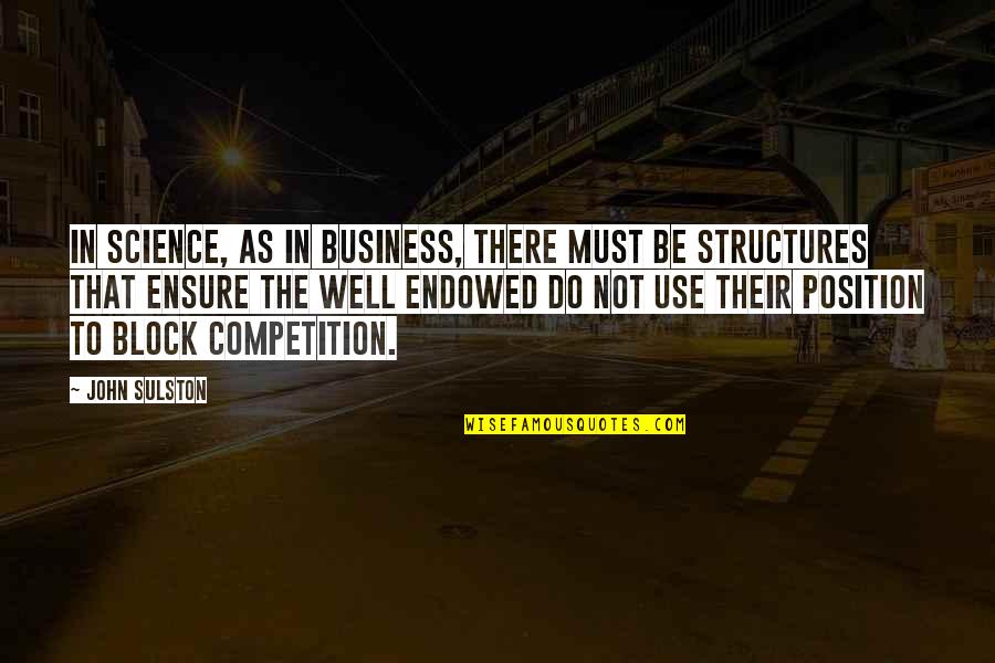 Block Quotes By John Sulston: In science, as in business, there must be