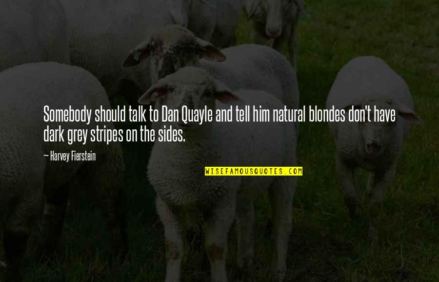 Blondes Quotes By Harvey Fierstein: Somebody should talk to Dan Quayle and tell