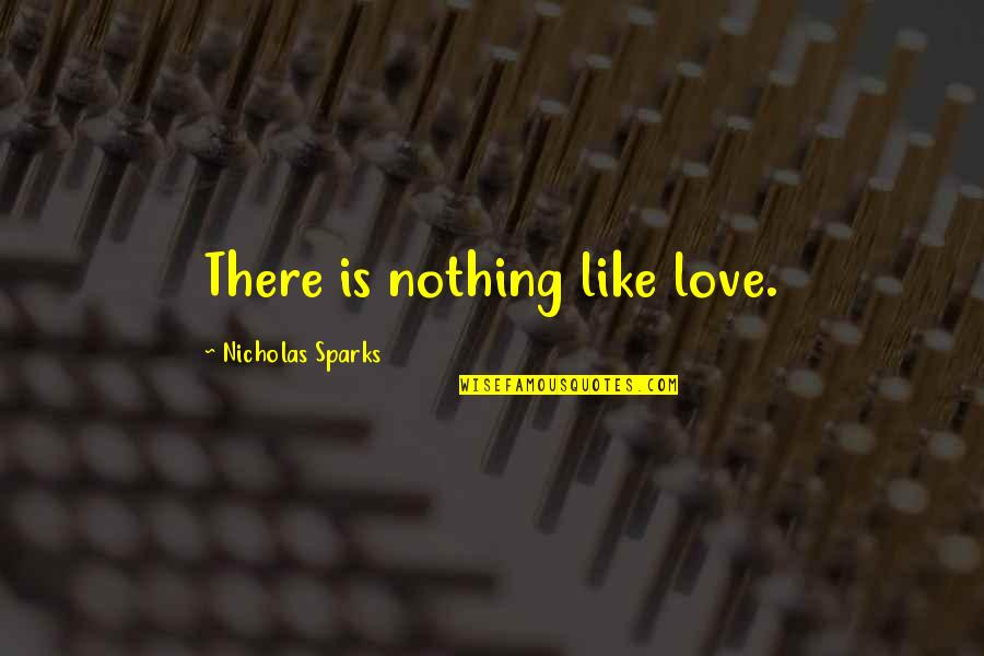 Blood Of Eden Quotes By Nicholas Sparks: There is nothing like love.