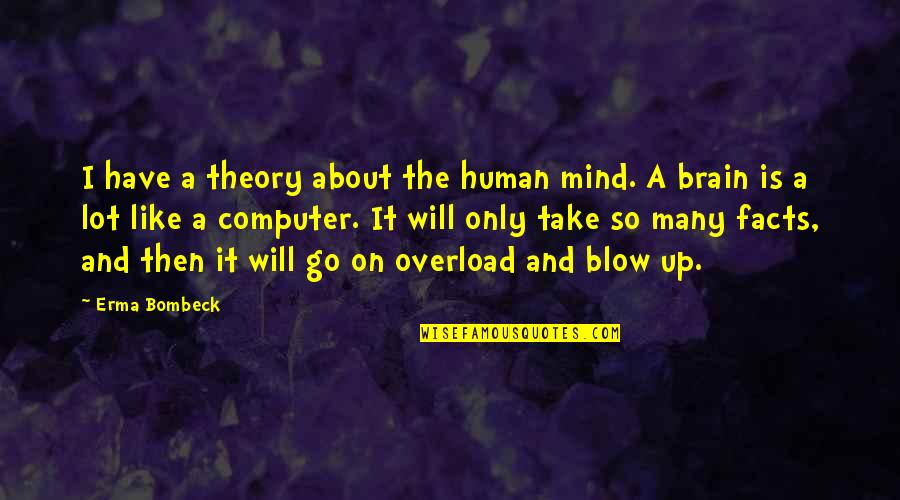 Blow My Mind Quotes By Erma Bombeck: I have a theory about the human mind.