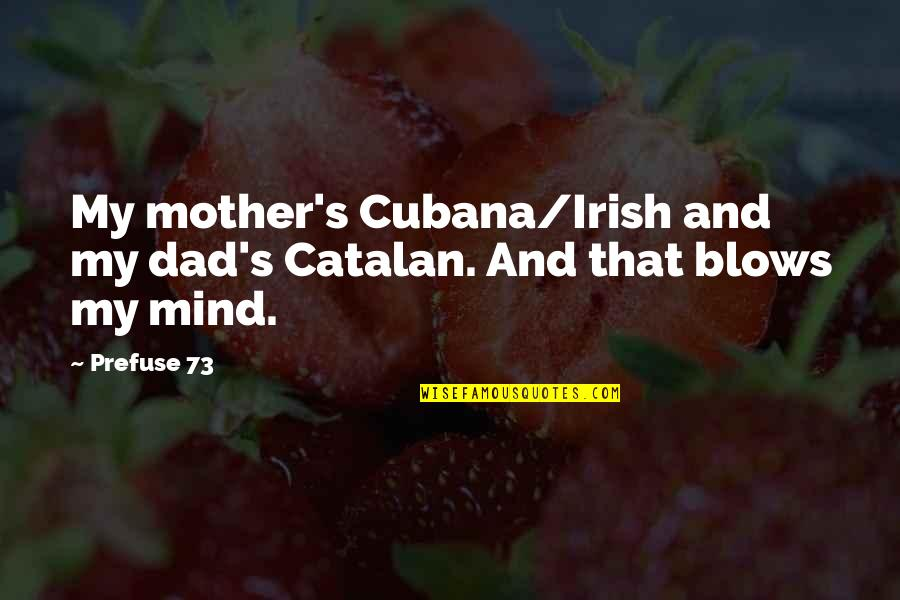 Blow My Mind Quotes By Prefuse 73: My mother's Cubana/Irish and my dad's Catalan. And