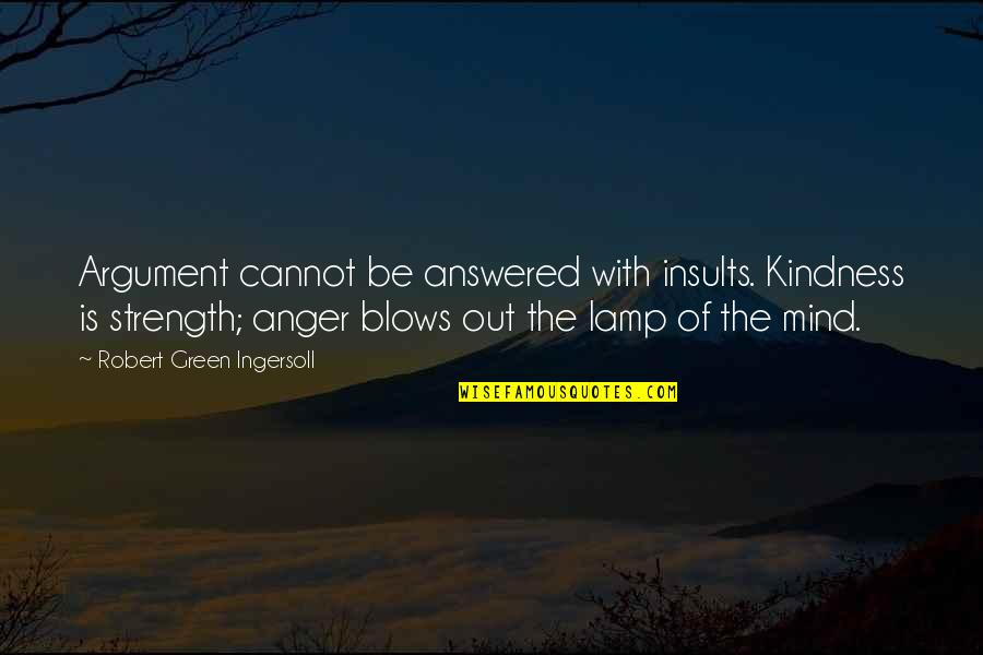 Blow My Mind Quotes By Robert Green Ingersoll: Argument cannot be answered with insults. Kindness is
