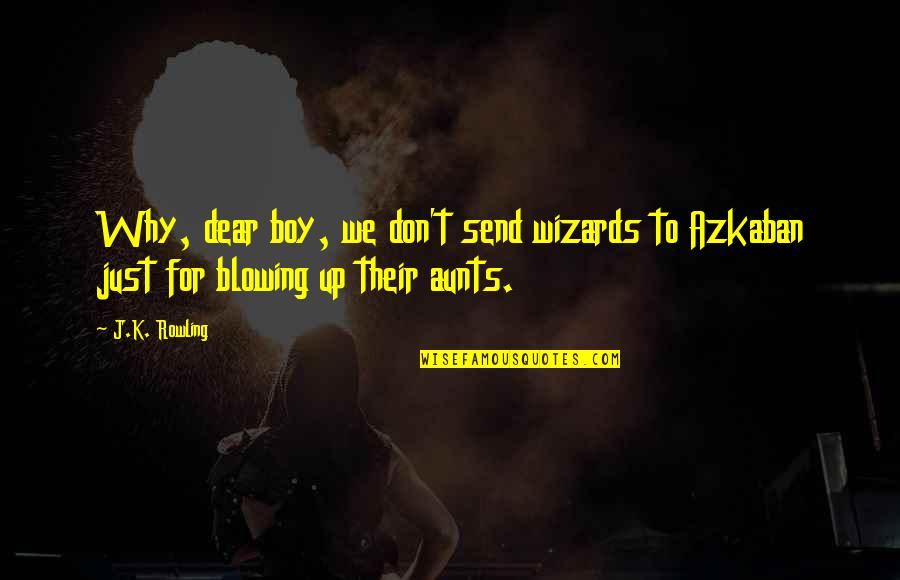 Blowing Up Quotes By J.K. Rowling: Why, dear boy, we don't send wizards to