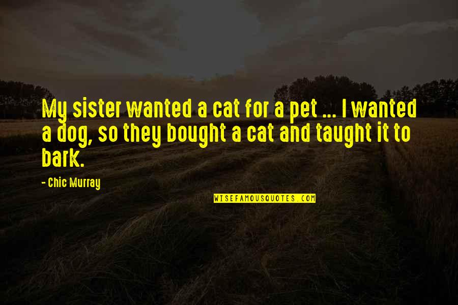 Blue Heelers Quotes By Chic Murray: My sister wanted a cat for a pet