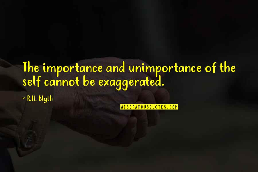 Blyth Quotes By R.H. Blyth: The importance and unimportance of the self cannot
