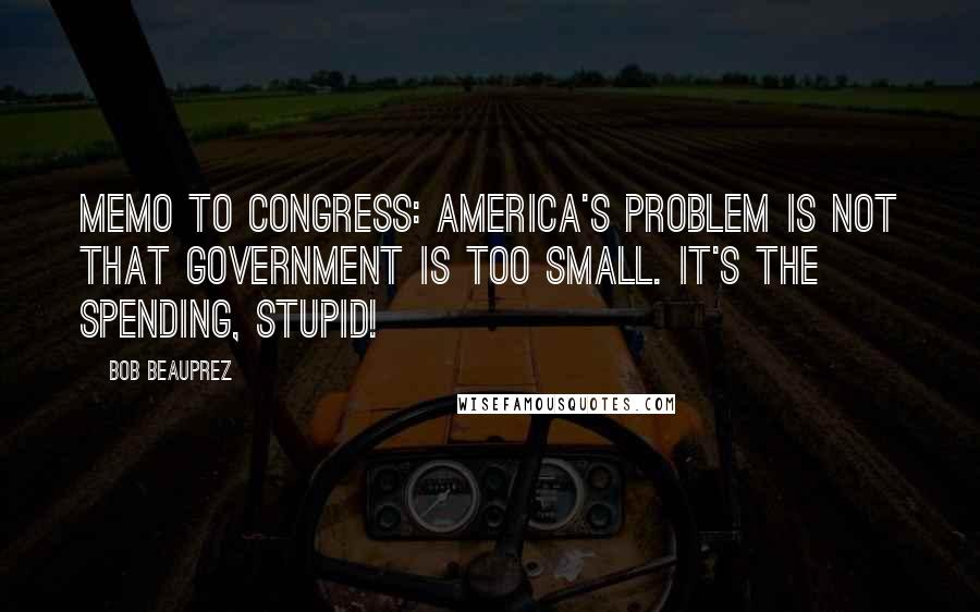 Bob Beauprez quotes: Memo to Congress: America's problem is not that government is too small. It's the spending, stupid!