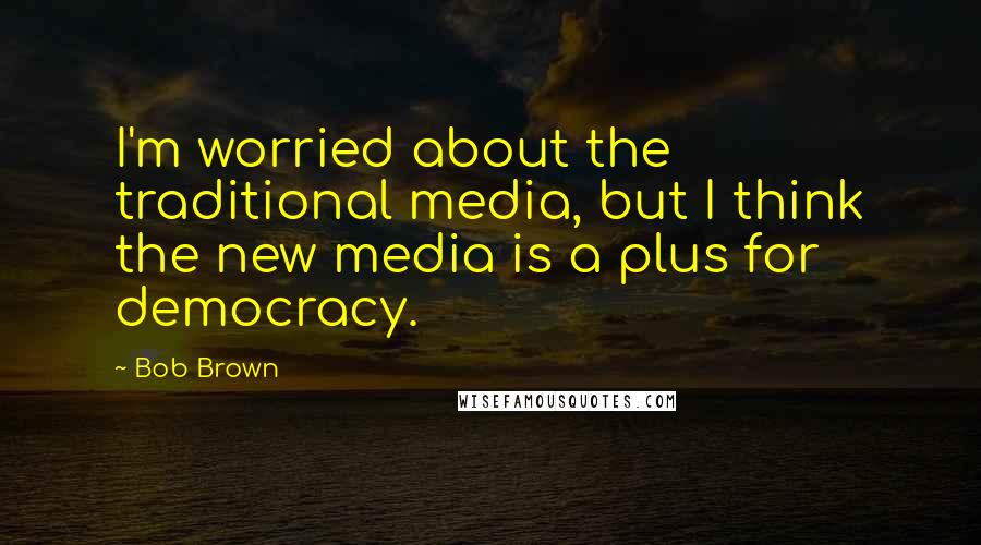 Bob Brown quotes: I'm worried about the traditional media, but I think the new media is a plus for democracy.