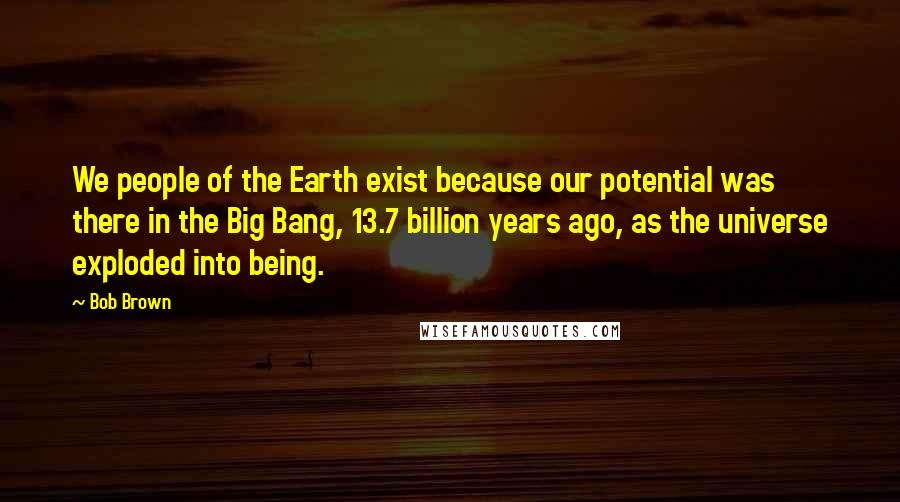 Bob Brown quotes: We people of the Earth exist because our potential was there in the Big Bang, 13.7 billion years ago, as the universe exploded into being.