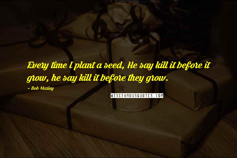Bob Marley quotes: Every time I plant a seed, He say kill it before it grow, he say kill it before they grow.
