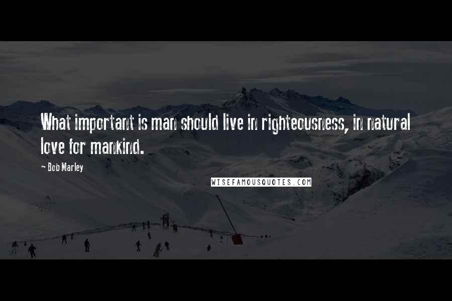 Bob Marley quotes: What important is man should live in righteousness, in natural love for mankind.