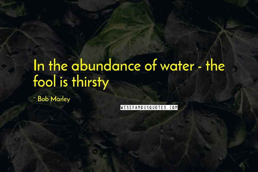 Bob Marley quotes: In the abundance of water - the fool is thirsty