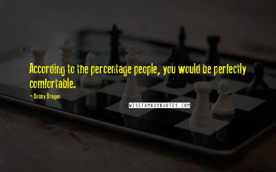 Bobby Bragan quotes: According to the percentage people, you would be perfectly comfortable.