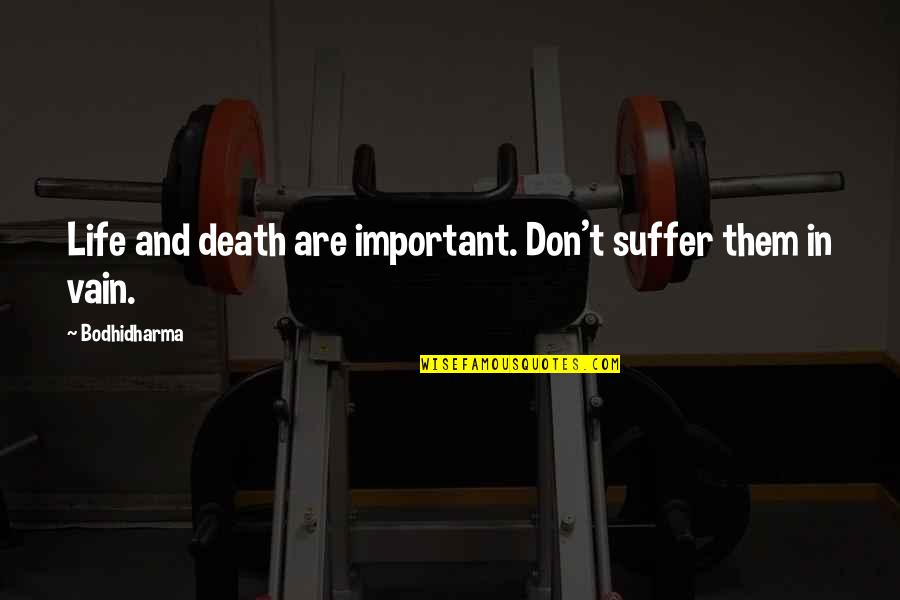 Bodhidharma's Quotes By Bodhidharma: Life and death are important. Don't suffer them